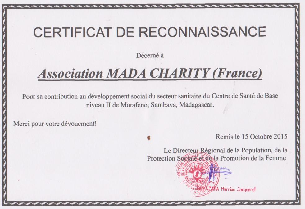 Certificat MD CHARITY 02